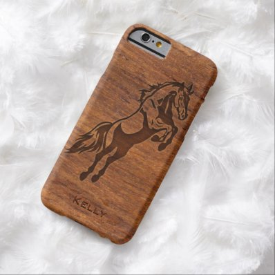 Wood Grain Look Horse Overlay Your Name Barely There iPhone 6 Case
