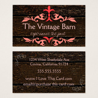 Wood Grain Look - Vintage Peach Scrolls Business Card