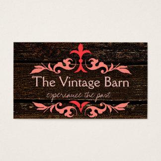 Wood Grain Look - Vintage Peach Scrolls Business Card