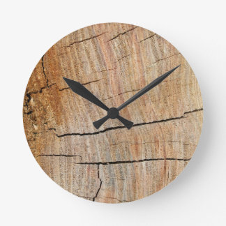 Wood Grain Photo Earthy Green Round Clock