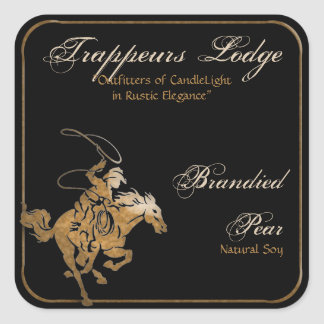 Wood Grain Rodeo Candle Label Square Sticker