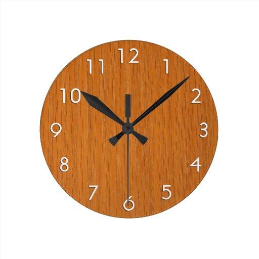 Wood Grain Round Wall Clocks Zazzle