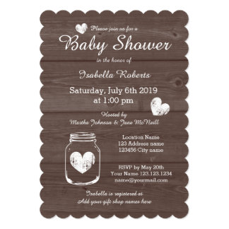 "Wood grain rustic mason jar baby shower invitation 5"" x 7"" invitation card"