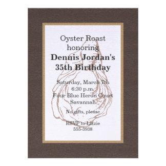 Wood Grain Rustic Oyster Roast Invitation