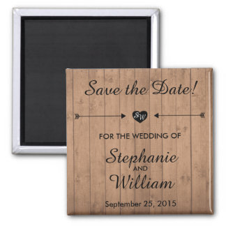 Wood Grain Save the date magnet. Heart and Arrows. Magnet