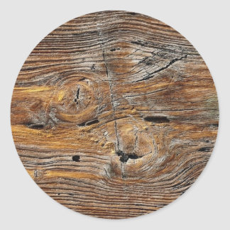 Wood grain, sheet of weathered timber classic round sticker