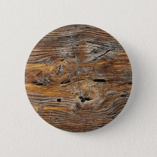 Wood grain, sheet of weathered timber pinback button