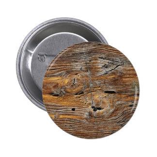 Wood grain, sheet of weathered timber pinback button