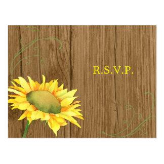 Wood Grain + Sunflower Wedding RSVP Postcard