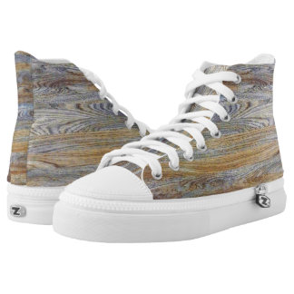 Wood Grain Texture #2 High-Top Sneakers