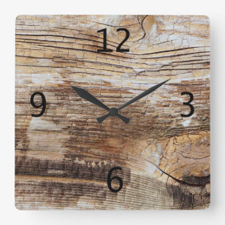 Wood grain texture 2 square wall clock