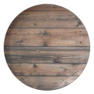 Wood Grain Texture Dinner Plate
