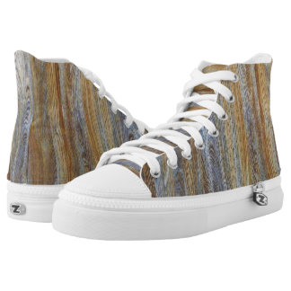 Wood Grain Texture High-Top Sneakers