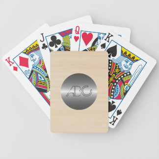 Wood Grain Texture Modern Stainless Metal Bicycle Playing Cards