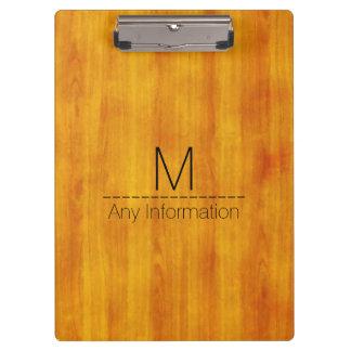 Wood Grain Texture Monogram #3 Clipboard