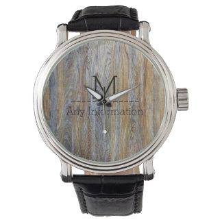 Wood Grain Texture Monogram #5 Wristwatch