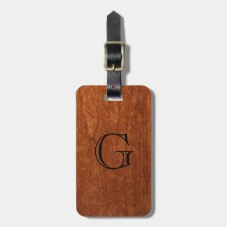 Wood Grain Texture | Rustic Monogram Bag Tag