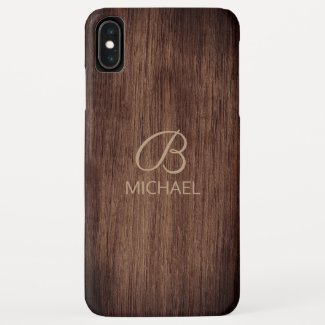 Wood Grain Timber With Monogram Personalized Name Case-Mate iPhone Case