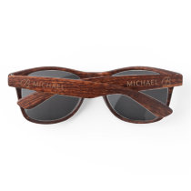 Wood Grain Timber With Monogram Personalized Name Sunglasses