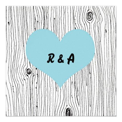Wood Grain Tree Blue Wedding Invitations