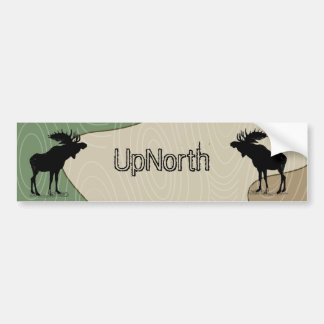 Wood Grain UpNorth Moose Silhouette Bumper Sticker