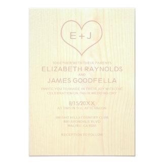 "Wood Grain Wedding Invitations 5"" X 7"" Invitation Card"