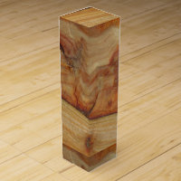 Wood grain with fireplace monogrammed wine box