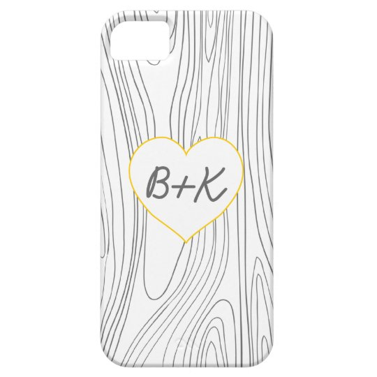 Wood Grain with Initials in a Heart iPhone SE/5/5s Case