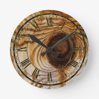 Wood Grain with Knot Round Clock