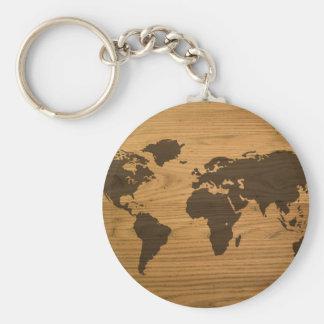 Wood Grain World Map Basic Round Button Keychain
