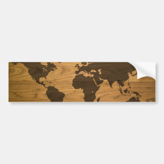 Wood Grain World Map Bumper Sticker