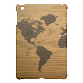 Wood Grain World Map Cover For The iPad Mini