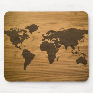 Wood Grain World Map Mouse Pad