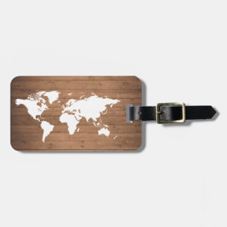 Wood grain World map rustic Luggage Tag
