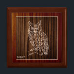"Wood Great Horned Owl Custom Jewelry Box<br><div class=""desc"">Handsome wood and tile trinket keepsake box, with graphics of a two tone wood grain look, on the tile lid. An embossed looking great horned owl sits majestically in the middle done in tan. Personalize the tan colored text, on the bottom, to suit your needs. Makes a lovely gift for...</div>"