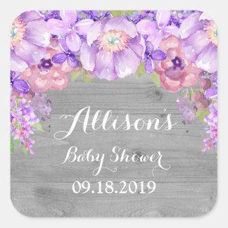 Wood Grey Lavender Purple Floral Baby Shower Tag