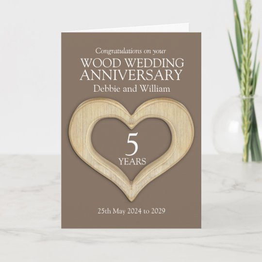 Wood Heart 5th Wedding Anniversary Names Card Zazzle Com