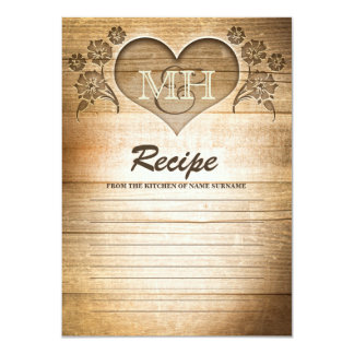 wood heart carving rustic recipe cards