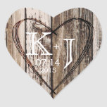 "Wood Heart Etching Rustic Monogram Wedding Label<br><div class=""desc"">Aged wood planks with heart rustic country monogram wedding label design.</div>"