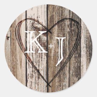 Wood Heart Etching Rustic Monogram Wedding Label Classic Round Sticker