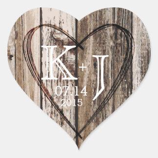 Wood Heart Etching Rustic Monogram Wedding Label Heart Sticker