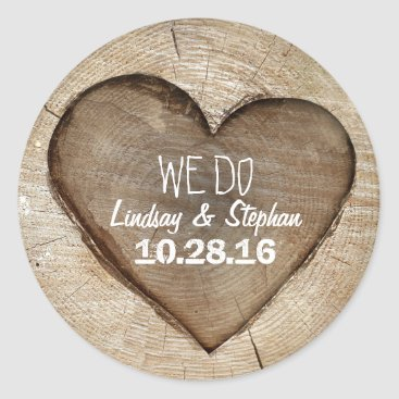 Valentines Themed Wood Heart Rustic Wedding Classic Round Sticker