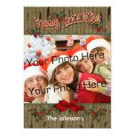 Wood Holly Holiday Photo Card