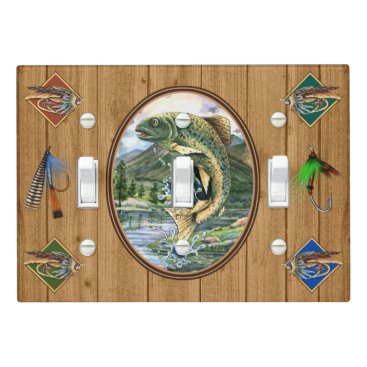 Professional Business Wood IMAGE Fishing Retreat Light Switch Cover