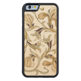 Wood In-Lay Flower Design3-Carved Wood iPhone Case