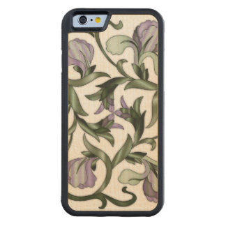 Wood In-Lay Flower Design4-Carved Wood iPhone Case Carved® Maple iPhone 6 Bumper Case