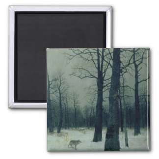 Wood in Winter, 1885 2 Inch Square Magnet