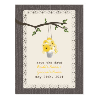 Wood Inspired Can Of Wildflowers Save The Date Post Cards