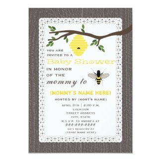 Wood Inspired Honey Bee Themed Baby Shower Card