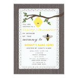 Wood Inspired Honey Bee Themed Baby Shower 5x7 Paper Invitation Card
